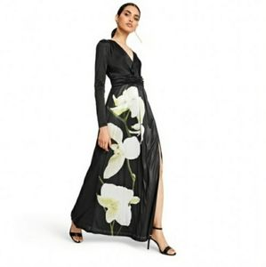Black With Floral Maxi Dress